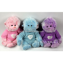 Luckiplus Cute Plush Doll Soft High Quality Sweater Monkey Pink and Blue and Purple For Children