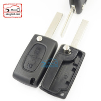 Good Price Peugeot 2 button flip romote key shell for 407 blank NO battery place Car Key Peugeot 0523 romote key case