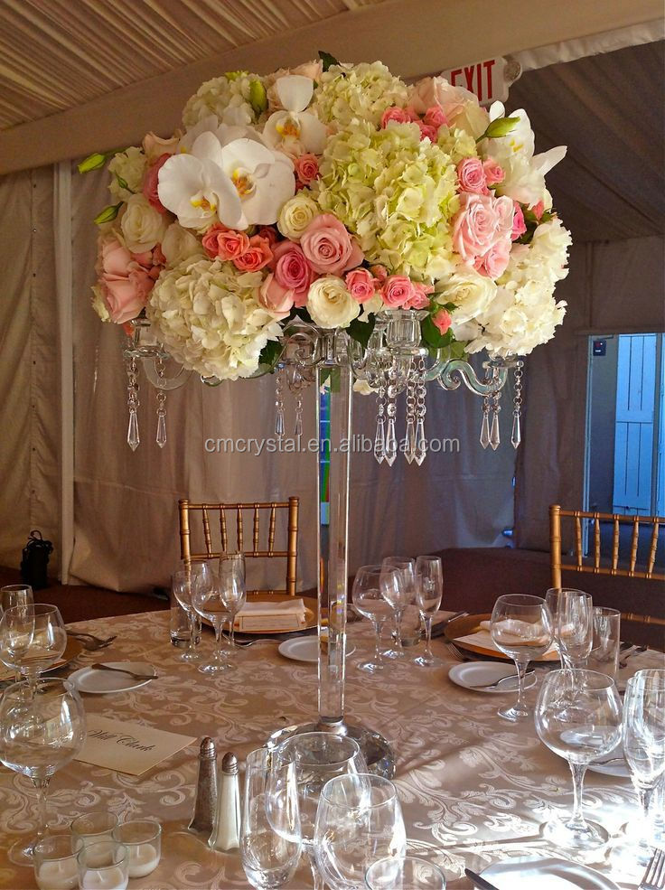 Tall Wedding Centerpieces For Rent : Arms crystal candelabra for wedding table centerpiece