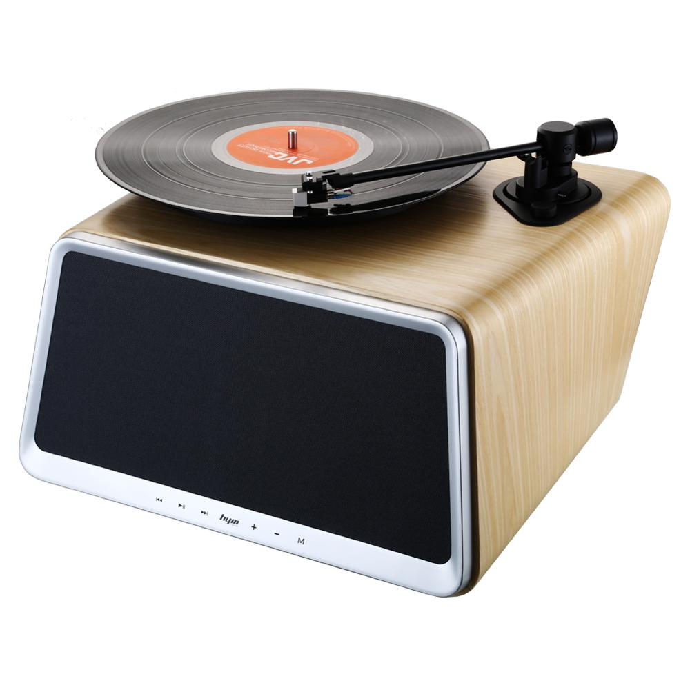 5-in-1 Stereo Audio Turntable for Vinyl Records Built in Bluetooth WiFi AUX-in USB Port Ethernet w/Remote Natural White <strong>Oak</strong>