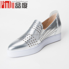 2016 Spring stylish high grade hand-made colorful breathable leather women sneakers fashion brand flatform casual shoes