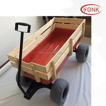 TEKRITE Lawn&Garden Utility Cart/Wagon With Removable Sides Wooden Farm Wagon Cart