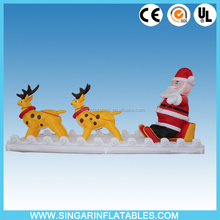 Christmas sitting santa claus double Deer pull carts inflatable outdoor Christmas decorations