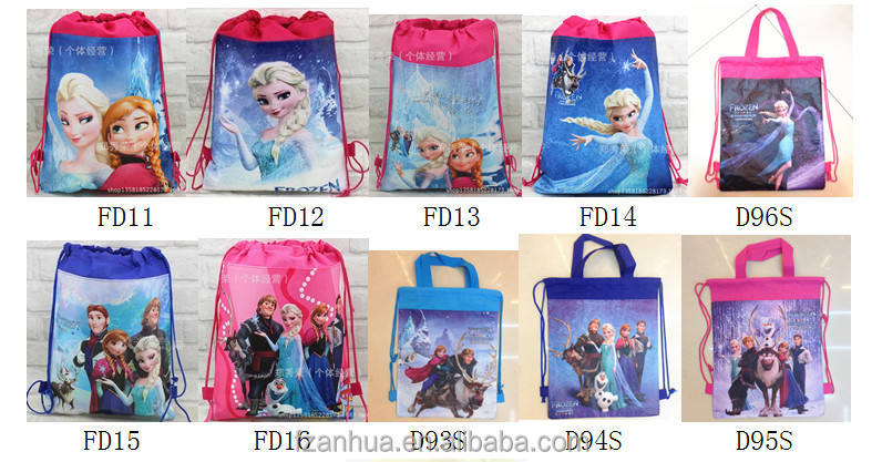 STP012 wholesale frozen drawstring backpack for kids cartoon bags in bulk exw price usd0.3-0.5/pc 24pcs sell