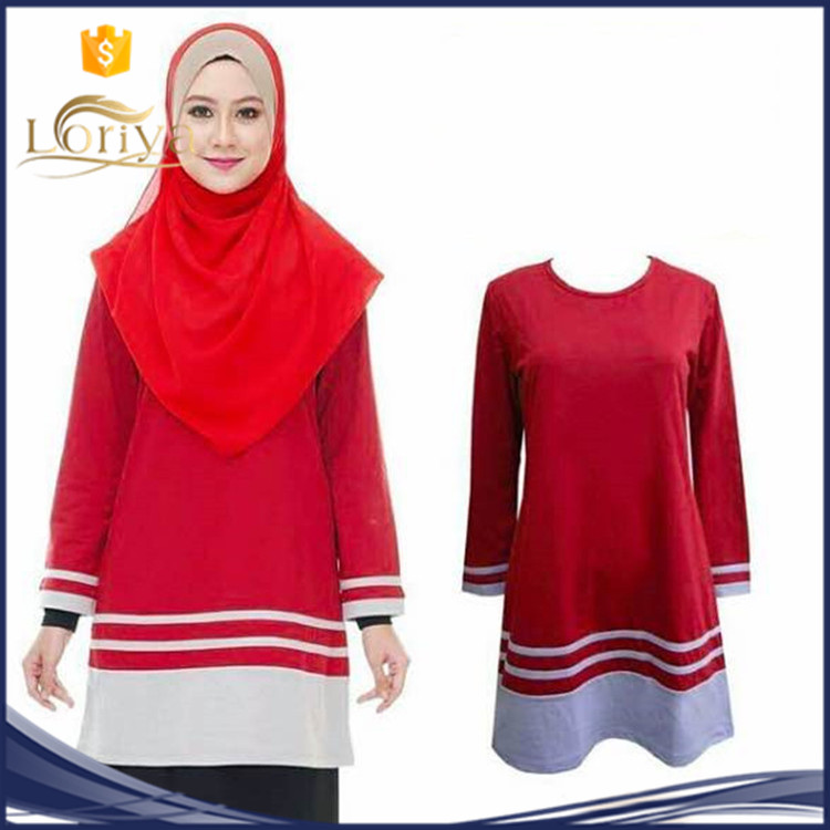 New 8 colors hot in malaysia muslim blouse,office blouse plus size muslimah blouse in stock