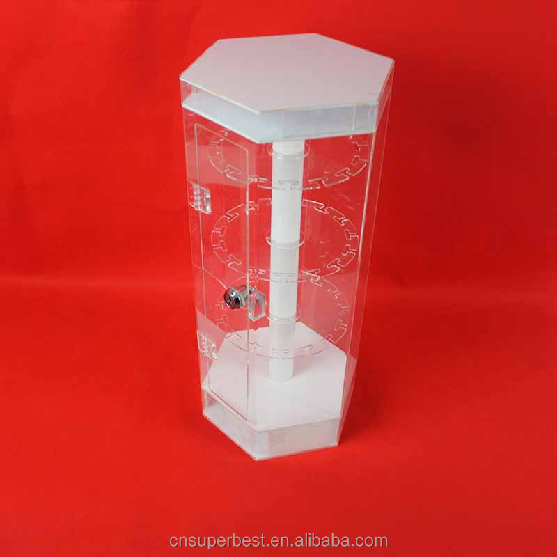 Rotating clear acrylic jewelry case display with lock