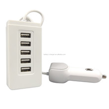 Compact 5 Port USB Car Charger 5V 8A 40W for Cell phones