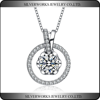 Wholesale Fashion Jewelry Pave Setting Circle Silver 925 Pendant Necklace