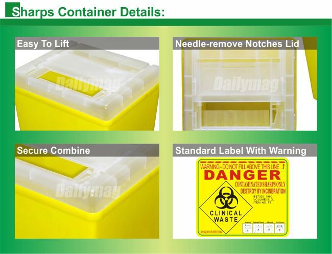 2018 dailymag sharps disposable container box for syinge hospital 1qt