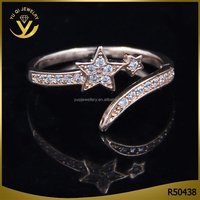 Latest lovely 24k rose gold plated finger ring engagement wedding ring wholesale fashion jewellery