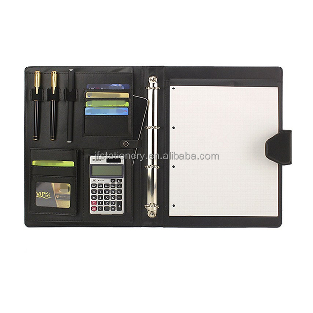 A4 business office folder multi - functional leather executive notebook with calculator manager folder customization