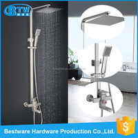 2016 new design wall mounted single holder dual control S/S 304 bathroom european bath shower faucet