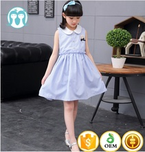 Wholesale garments 2016 Guangzhou Supplier Girls Children blue Strip Dresses Of Kid Clothing