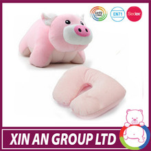 EN71 toy 2 in 1 popular pink pig shaped cushion animal make up set toy pillow from factory audit