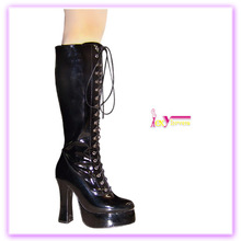 Patent leather fashion disco high heels boots women chunky knee boots