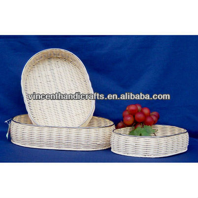 Natural rattan oval fruit baskets weaving rattan tray