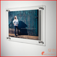 Clear Wall Mounted Acrylic Picture Display Frames Sign Holder