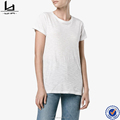 Latest shirt designs for women keyhole-tie back round neck soft cotton plain tshirts