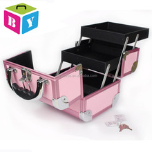 Pink Portable professional foldable cheap beauty vanity makeup cosmetic jewelry organizer case with trays drawers locks