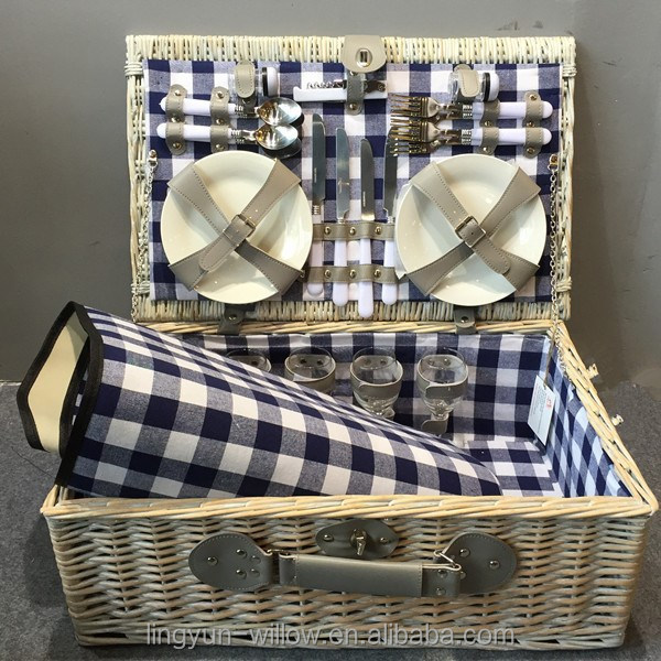 popular high quality willow picnic basket set for 4 person wholesale