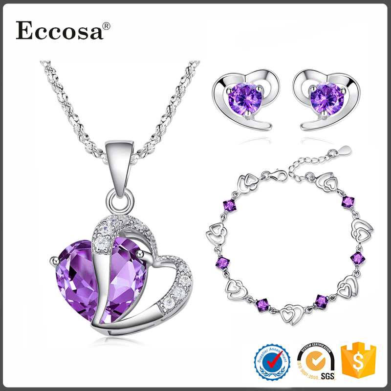 2017 Valentine Day Jewelry Gifts Necklace Earring Purple Cubic Zircon Heart Love Bracelet 925 Sterling Silver Jewelry Set