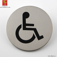Supply Stainless Steel Toilet Signs Plate Circle Self Adhesive Disabled WC Door Sign