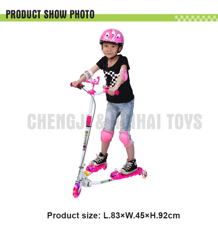 Kids flicker game 3 wheels swing scooter cartoon caterpillar theme frog kick scooter