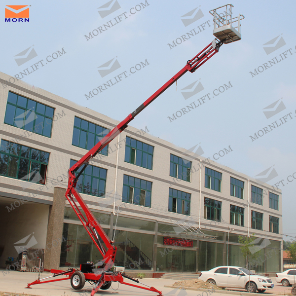 Towable hydraulic small boom lifts