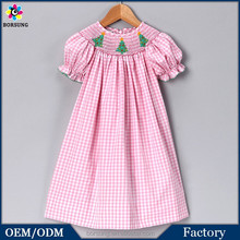 OEM Factory 2015 Fashion Girl Pink Gingham Christmas Tree Dress Girls Clothing Boutique Dresses