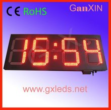 outdoor red custom led digital neon wall clock