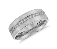 Silver Gem Stone Wedding Rings for Men (7mm) Silver Jewellery Online