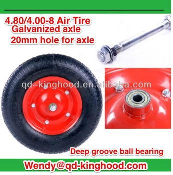 16in Air Wheels with shaft For wheelbarrow Trolley