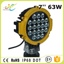 Round Aluminum housing 7'' Auto Led Work Light 63w Led Driving Light for offroad truck vehicle car accessories