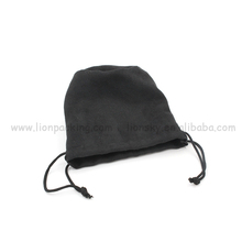 Black Round bottom Drawstring Suede Pouch For Storage
