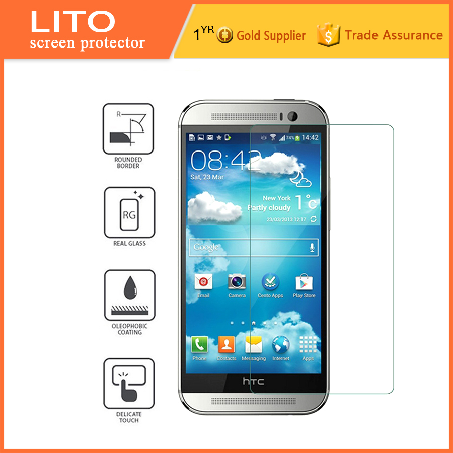 Custom size flexible tempered glass screen protector for htc m8