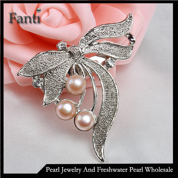 Dragonfly costume jewelry natural pearl brooche for women