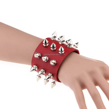 Sexy Studded Spikes Button Bracelet Wristband Faux Leather Rivet Goth Punk Rock Biker Bangle