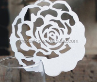party decoration Elegant Rose Shaped Design Laser Cut Place Card wedding favors