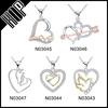 Fashion Crystal Heart Style 925 Silver Plated Necklace