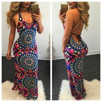 B30599A Autumn sexy hot style fashion big size geometric pattern printed backless tight halter long dress