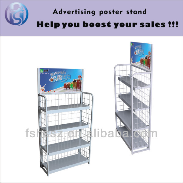 Metal Pop Soft Drink Floor Display Racks HS-ZS9