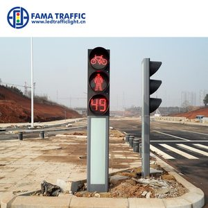 3 Meter Height Integrated Frame Pedestrian Pole with Traffic Light Module Built-in