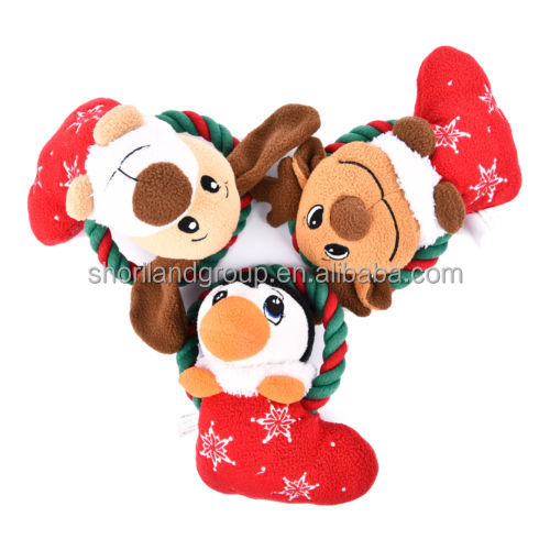 2016 interactive squeaky rope chew christmas dog toys