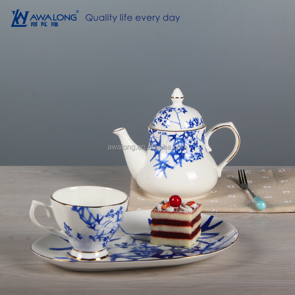 White and Blue classic coffee and tea set For 1 person afternoon tea set