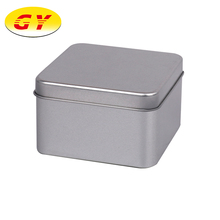 Eco-friendly square shaped silver fruit cake tins packaging