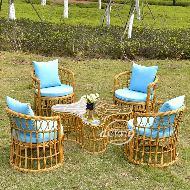 outdoor heavy-duty dining set aluminum rattan cube dining table and chair set furniture