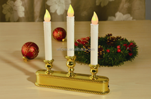 3 Tier Cordless Battery-operated Light Sensor LED Window Candle With 3 Ivory Dripping Resin Tapers&Gold Base