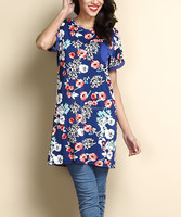 2016 New Style Women Tops With Blue Floral Pocket Accent Boyfriend Tunic Women Flower Blouse Women Clothes GD90426-50