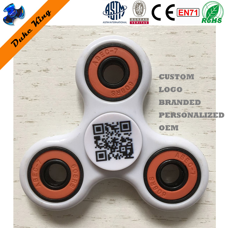Customized Design Logo Branded Tailor Made Fidget Spinner Toys 2D Barcoes QR Barcode Personalized Hand Finger Spinner