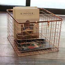 Wholesales Household Storage Copper Plating Rectangle Wire Organizer Basket With Handles